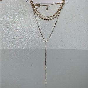 Gold Necklace Silver Rhinestone Glam Choker